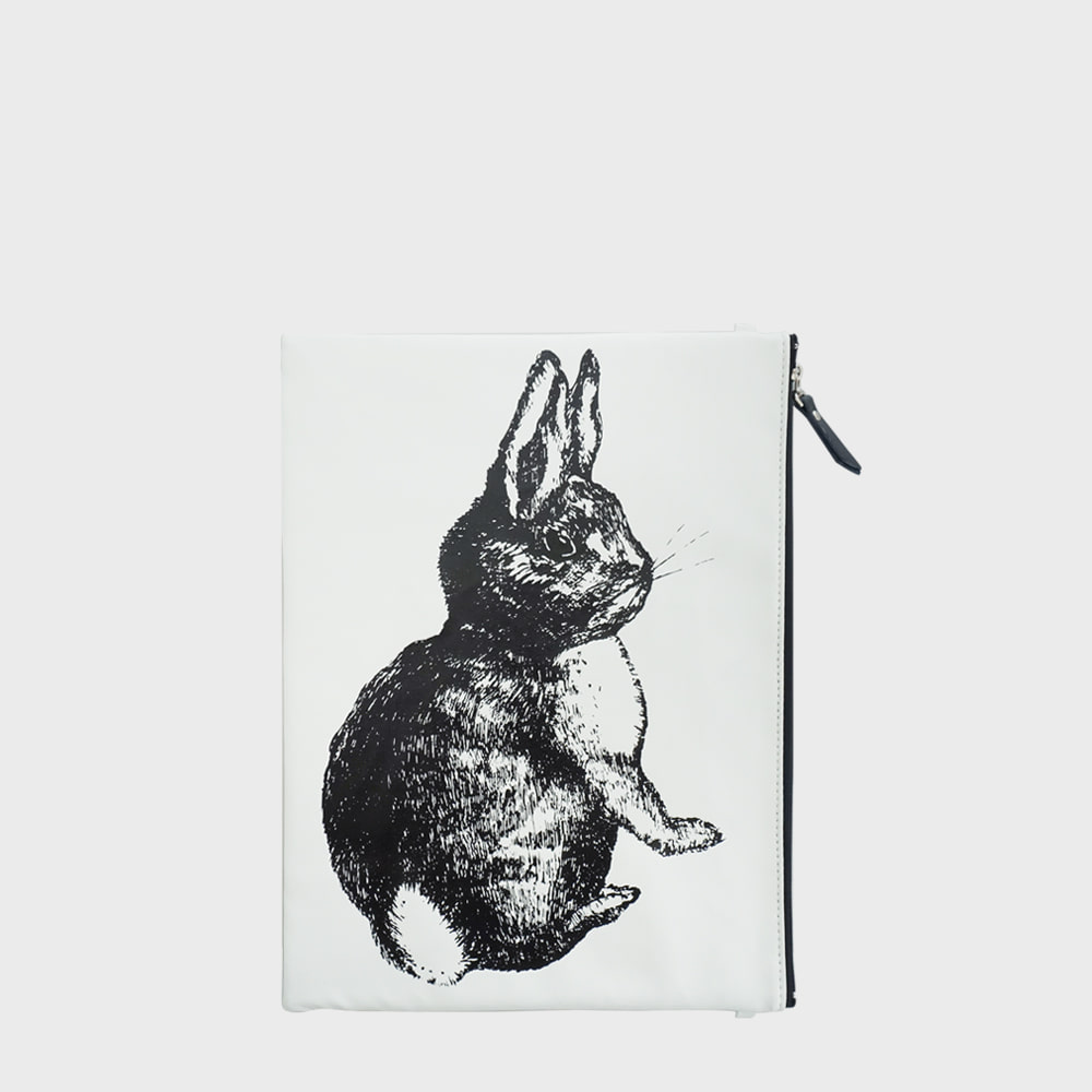 Ogram White Rabbit Pouch in Medium or Big