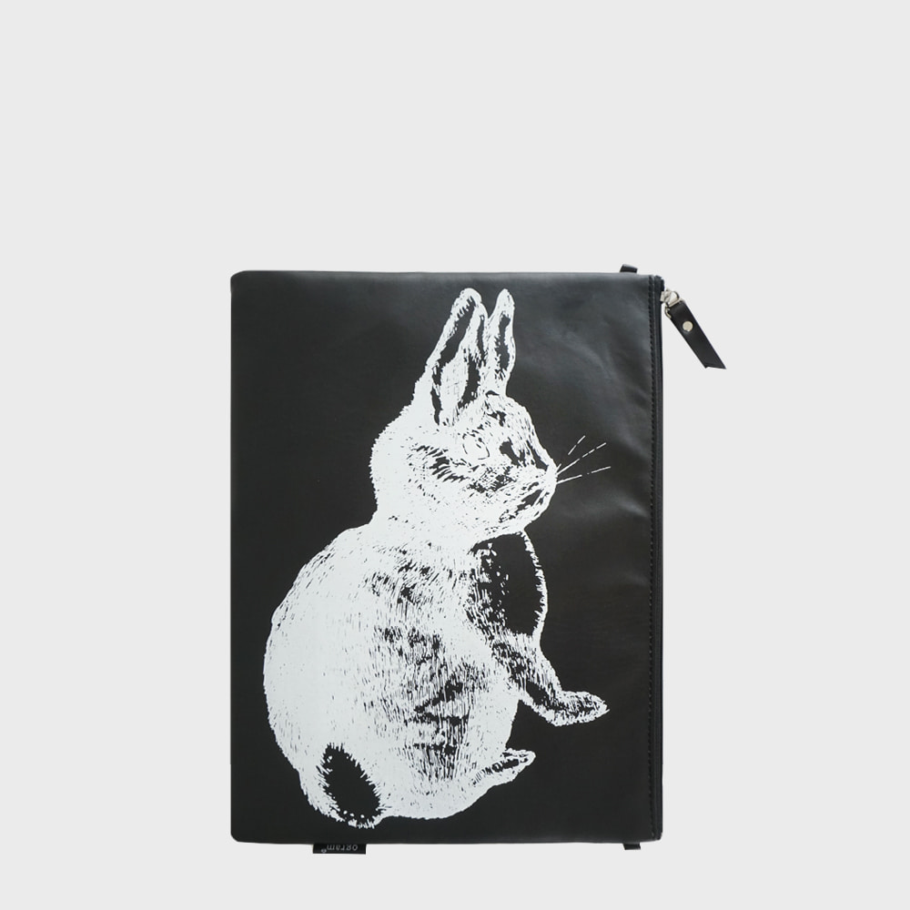 Ogram Black Rabbit Pouch in Medium or Big