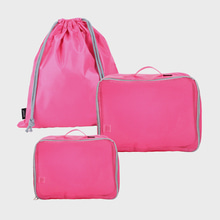 Ogram 3-Piece Packing Cube in Hot Pink Mesh