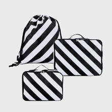 Ogram 3-Piece Packing Cube in Black&White Stripes